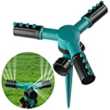 BZLine® Rasensprenger, automatische drehende justierbare Garten-Wasser-Sprinkler-Rasen-Bewässerungssystem 360 mit auslaufsicherem Entwurf Dauerhafter Arm-Sprüher mit 3 Armen, Spitzen-Basis (Grün)