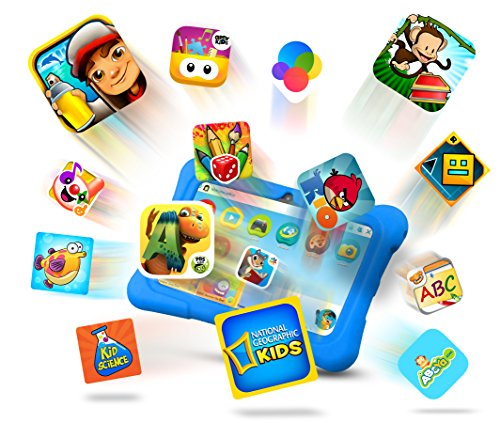 """Price comparison product image Kids HD Tablet - 7"""" Quad Core Tablet PC (1 GB RAM, 8GB HDD, Google Android 5.1, WIFI Enabled, Google Play) - UK Warranty + Extra Protection Case - Tecwizz (Blue)"""
