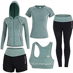 Sokaly Juego de 5 Ropa Gimnasia Yoga Gimnasia Correr Fitness Deportiva Mujer Incluye Manga Larga y Corta, Pantalón, Sujetador, Suave Transpirable Cómodo (Verde, M)