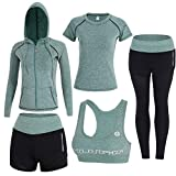 Sokaly 5 Pezzi Yoga Fitness Palestra Running Jogging Completi Sportivi Abbigliamento da Donna (S, Verde)