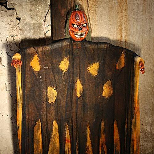 WSCOLL Halloween Hanging Pumpkin Face Geisterpuppe Halloween Dekoration Horror House Hanging Haunted Doll Sprachsteuerung Electric Devilorange - Scary Doll Face Kostüm