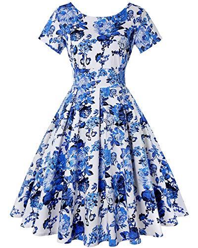 MINTLIMIT Damen Abendgesellschaft Kurze Ärmel Midi Kleider 1930 Vintage Kleid (Floral Weiß,Größe S)