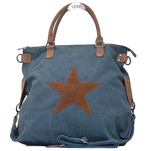 Blaue Nieten-handtasche (Vain Secrets Sternen Shopper Damen Handtasche mit Schulterriemen (Navi))