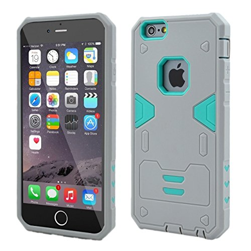 iPhone 6S Plus-Fall, iPhone 6 Plus-Kasten, Lantier Cool-Serie Hybrid Dual Layer Soft-Gummi-Außentasche mit harter PC Inner Rüstung Defender Case Cover für Apple iPhone 6 / 6S Plus-Fall-Schwarz + Schwa Gray+Mint Green