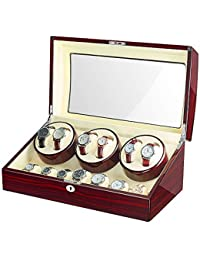 JQUEEN Watch Winder Box with 6 Winder Positions, 7 Storage Spaces, 10 Modes, Wood Shell, Piano Paint Black Gloss Display Box Case