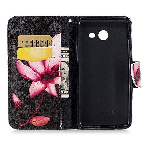 Samsung Galaxy J5 (2017) (5.2 pouce) Coque , PU Cuir Étui Protection Wallet Housse la Haute Qualité Pochette Anti-rayures Couverture Bumper Magnétique Antichoc Case Anfire Cover pour Samsung Galaxy J5 Rouge Lotus