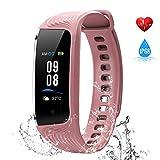 WiMiUS Fitness Armband mit Pulsmesser, Wasserdicht IP68 Fitness Tracker, Aktivitätstracker, Schlaf Monitor,Schrittzähler, GPS, Kalorienzähler Uhr Smart Watch für Damen Herren (Rosa)