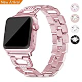 Für Apple Watch Metall Armband 38mm, Mornex Edelstahl Armbänder Ersatz Zubehör für Iwatch, Gliederarmband mit Kristall luxuriöse Edition,universelles Design für Apple Watch Series 3, 2 und 1, Rosegold