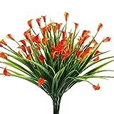 Nahuaa Kuenstliche Pflanze, 4 Stück Künstlichen Calla Lily Blumen Grün Strauch Gefälschte Kunststoff Weizen Gras Sträucher Draußen Tabelle Blumenarrangements Zuhause Küche Sprungfeder Deko Orange