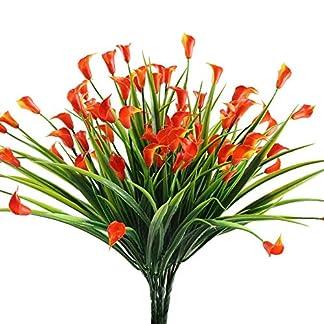 NAHUAA Flores Artificiales 4pcs Plantas de Jardin Artificiales Plantas Simulación de Plástico Lirio de Cala Rojo Decoración para Casa Oficina Baño Restaurante Balcón Boda