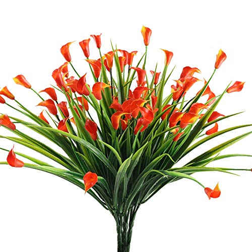 NAHUAA 4pcs Fleurs Artificielles Exterieur Deco Rouge Faux Plante Arbustes Fausse Plantes Plastique Décoration Buissons d'Intérieur Extérieur pour Mariage Jardiniere Balcon Cuisine Cimetiere Tombe