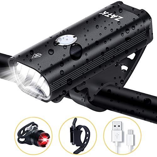ZATK Luce Anteriore Bici, Ricaricabili USB, IPX-5 Impermeabile, 6 modalità, Luci per Bicicletta Anteriore e Posteriore per Strada Urbana - Cicli notturni, Pendolarismo, Campeggio o Escursionismo