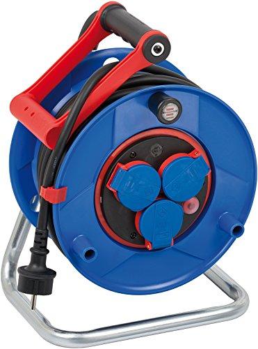 Brennenstuhl Garant Bretec IP44 Gewerbe-/Baustellen-Kabeltrommel (25m - Spezialkunststoff, Baustelleneinsatz und ständiger Einsatz im Außenbereich, Made In Germany) blau