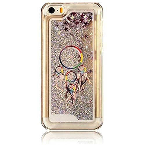 iPhone 5C à paillettes Bling cas, iPhone 5C Étui en forme de cœur étoiles Quicksand, newstars Design Creative 3D Fluide flottant Sparkle Liquide en Plastique Transparent dos transparent coque rigide Campanula