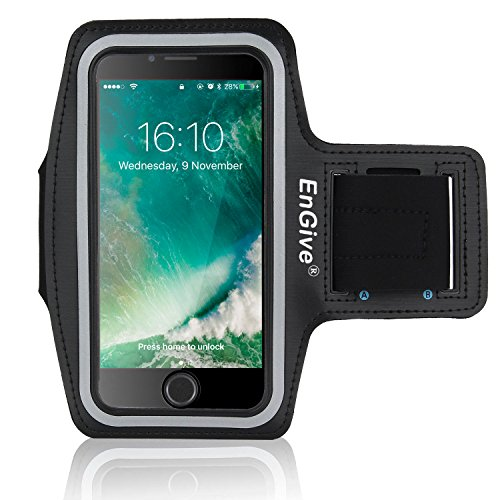 iPhone 7 Plus Armband [Homebutton & Touch ID Kompatibel], EnGive Sport Hülle Joggen Laufen Sportarmband Schutzhülle Case und Schlüsselhalter Kopfhörer Anschluss für iPhone 7 Plus