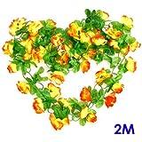 Artificial Rose Bud Garland Silk Flower Vine for Home Wedding Garden Decoration