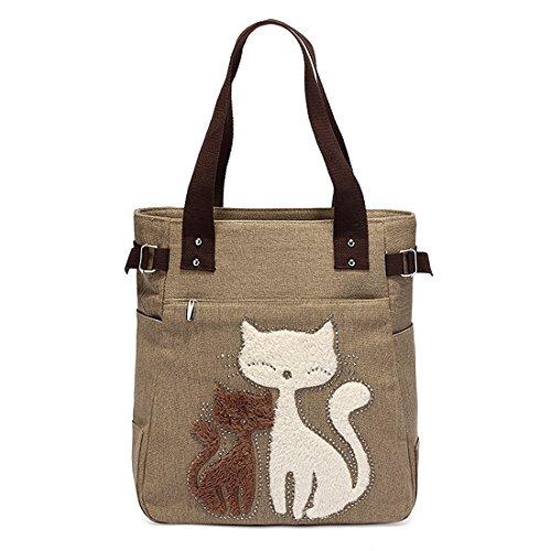 sac a main de femmes - TOOGOO(R)Le sac de toile messager de sac a main de la femme avec le sac chat mignon petit centre d'epaule Khaki