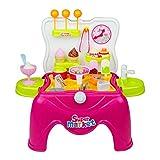Set Dolci Gelati E Dolci Cibo Fare Spesa Cucina Giocattolo Supermercato Giochi 39pcs Sgabello Portatile per Bambini 3+
