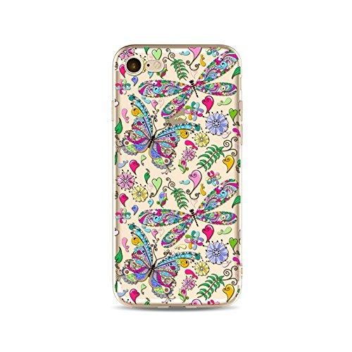 Coque iPhone 6 6s Housse étui-Case Transparent Liquid Crystal en TPU Silicone Clair,Protection Ultra Mince Premium,Coque Prime pour iPhone 6 6s-Le Papillon-style 4 21