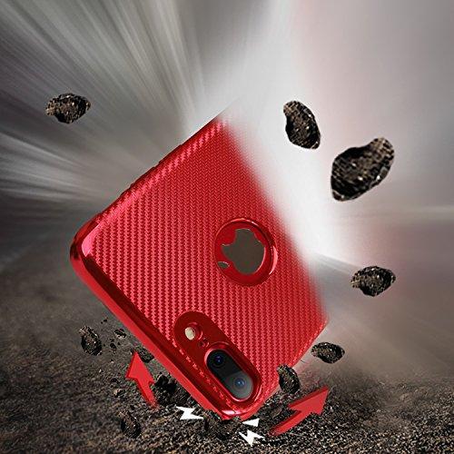PC Hülle Für iPhone 7, Vandot [Hitze Ableitung] Wärmeableitung PC Hard Ultra Slim Lightweight Cover Hybrid Scratch resistent stoßfest robuste Design Impact Schutzhülle Muster Non-Slip Cooling Cover Ca Carbon Fiber Rot