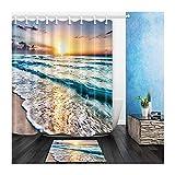 AMDXD Polyester Duschvorhang Teppich Toilettenmatte Set Sonnenuntergang Strand Design Bad Vorhang für Badezimmer Badewanne Bunt 180x210CM