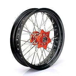 TARAZON Supermoto 3,5x17 Vorderradfelge Radsatz Rad Felge wheel Radnabe Orange Set für KTM SX SXF EXC SXS XC XC-F 125-530 03-14