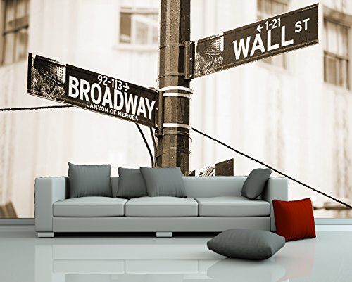 bilderdepot24-self-adhesive-photo-wallpaper-wall-mural-wallstreet-road-sign-sepia-14173-inch-x-9055-