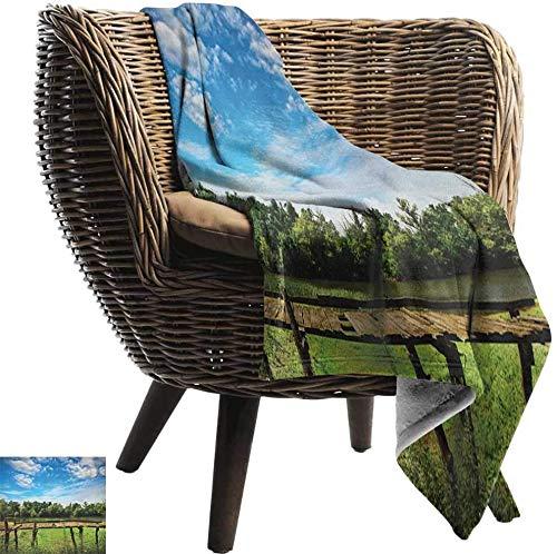 Manta calefactada (80X130cm) Paisaje, Paisaje de verano con puente viejo de madera Río por bosque Día soleado Imagen de la naturaleza Azul Verde Todas las estaciones Peso ligero Sala de estar / dormit