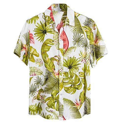 Urlaub T-Shirt Herren LäSsige Kurzarm Hawaiihemd Strand Drucken Leinenhemd KurzäRmliges T-Shirt-Oberteil SchaltfläChen FrüHling Sommer Tees Shirts Holiday Graphic Hemden Shirts