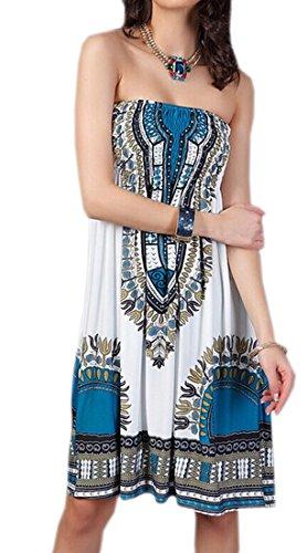 Yue Lian Damen Aztekisch Strandkleid Paisley Schulterfrei Minikleid Urlaubskleid Weiß