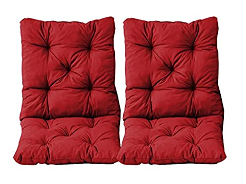 Ambientehome 98 x 50 x 8 cm HANKO Garden Arm Chair Cotton Padded Low Back Cushion - Red (2-Piece)