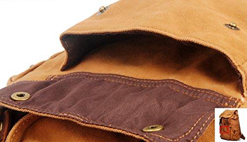 GSPStyle Unisex Canvas Tasche Herrentasche tragbar Schultasche Rucksack Reisetasche Backpack Khaki