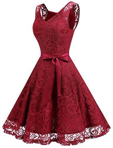 Dressystar Brautjungfernkleid Ohne Arm Kleid Aus Spitzen Spitzenkleid Knielang Festliches Cocktailkleid Dunkel Rot