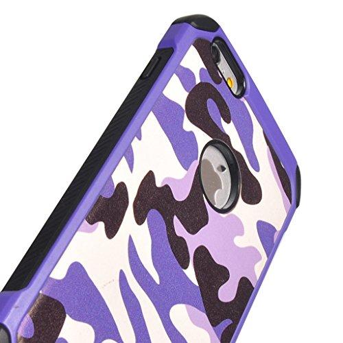 UKDANDANWEI Camo Series Hülle,Super Schild Hohe Gel Silikon Haut Slim Fit Zurück Schale Abdecken Schutzhülle Case Cover für iPhone 6 / 6s - Rosa Lila
