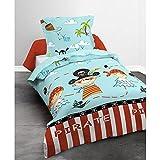 Today 015970Happy Piraten Bettwäsche mit Bettbezug/Kissenbezug Baumwolle blau 140x 200cm