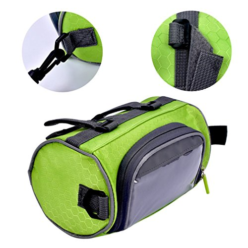 Ailiebhaus Fahrradlenkertasche Fahrradtasche zur Befestigung am Lenker,mit Touch-Screen,abnehmbaren Schultergurt Grün