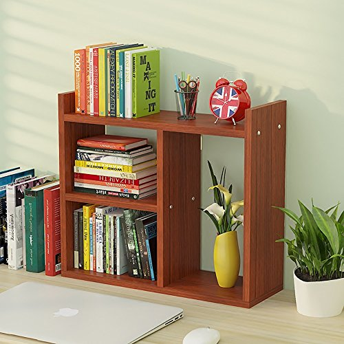 Make-up-Rahmen MEILING Storage Rack Creative Teak Color, Desktop Shelves Aufbewahrung Bücherregal...