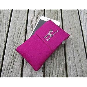 zigbaxx Handyhülle Filz Handytasche CAT für Samsung Galaxy S10 S9 S8 S7 edge und Plus, Smartphone-Hülle handmade Wollfilz Katze Strass - pink/schwarz/beige/grau/braun - Geschenke Frauen Weihnachten