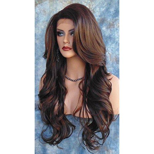 SHKY Stilvolle sexy braune lange lose Welle Haar Perücke für Frauen, natürliche lockige Synthetik Frauen Perücke