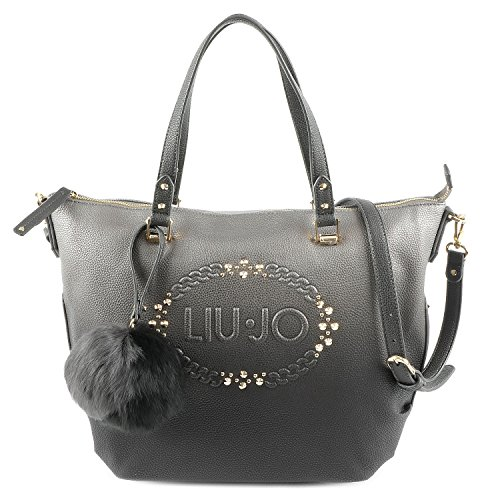 LIU JO LUCCIOLA SHOPPING BAG N66019E0027-A3168 Gun metal/frozen