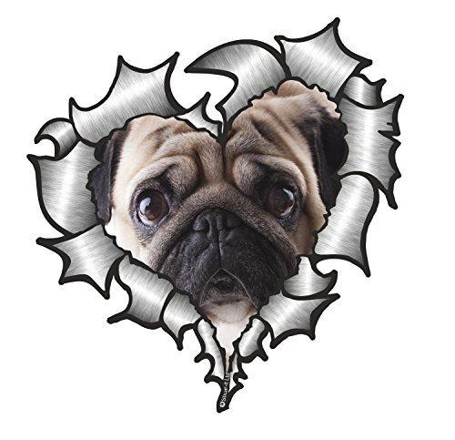 Preisvergleich Produktbild Sticar-it Ltd Herzförmiger ZERRISSENES METALL Auto-aufkleber süße Mops Hund tier Vinyl aufkleber 105x100mm Ca.