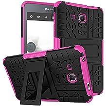 "Fundas Tablet Samsung Galaxy Tab A6 7.0""(SM-T280/285) Bumper Case Cover, KATUMO® Carcasa de Piel Funda Goma para Samsung Tab A6 7.0"" Cubierta Protectora Funda Transparent Gel-Rosa Roja"