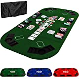 Maxstore - Tapis de Poker Pliable - XXL - pour Jusqu'à 8 Joueurs - 160 x 80 cm Panneau MDF - 8 Porte-gobelets - 8 bacs à jetons, Vert