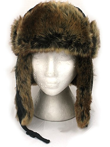 RUSSIAN STYLE TRAPPER HAT BLACK NYLON with LUXURY BROWN FAUX FUR TRIM
