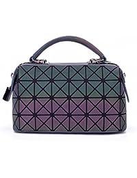 Bolso De Moda Mujer Luminosa Tote Bolsa De Hombro Acolchada GeometríA Bagsplain Bolsos Plegables