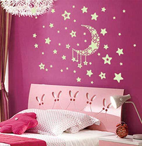Wandaufkleber Diy Kreative Kinder Pvc Glow Stars Mond Schlafzimmer Removable Home Schlafzimmer Dach 40X35 cm