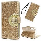 WaackGG für Galaxy A7/A750 Glitzer Hülle Leder Flip Case Tasche Wallet Handyhülle Leder Bookstyle Schutzhülle Handytasche Magnetisch Mehr Kartenfach Ständer Etui Mit Spiegel Gold