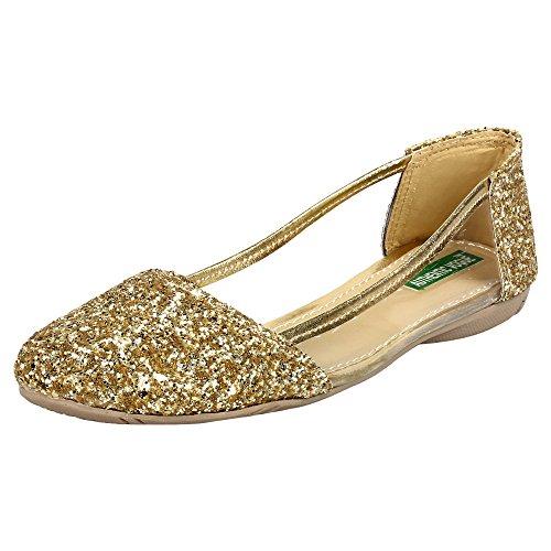 Authentic Vogue Women's Party Wear Golden Ballerinas 40 EU