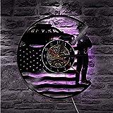 Wmbz Usa Polizist Vinyl Uhr Wand Batteriebetriebenes Nachtlicht Mit Fernbedienung Lampe Sieben Farben Ändern Stumm