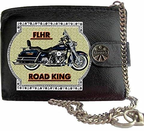 HARLEY DAVIDSON FLHR Klassek Portefeuille Homme avec Chaine Porte Monnaie Moto Cadeau Accessoires Bike CHAIN